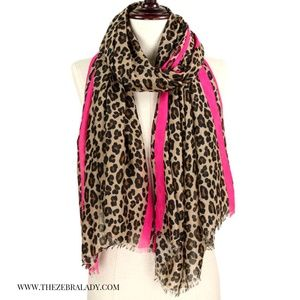 Leopard Print and Pink Scarf
